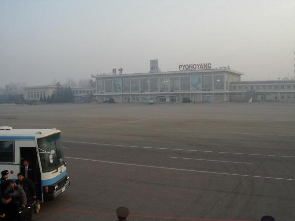 A New York Philharmonic delegation's first view of Pyongyang's Sunan International Airport, as they arrive from Beijing, People's Republic of China, on their second exploratory trip to the city.