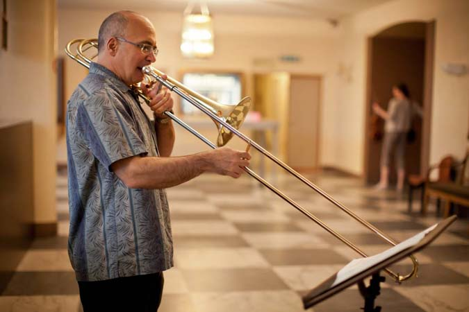 <b>Basel, May 12, 2011, 9:35AM:</b> The first concert is tonight! Just before the Orchestra's first tour rehearsal, at Basel's Stadt-Casino, Principal Trombone Joseph Alessi warms up offstage. <br><br> All photos by Chris Lee
