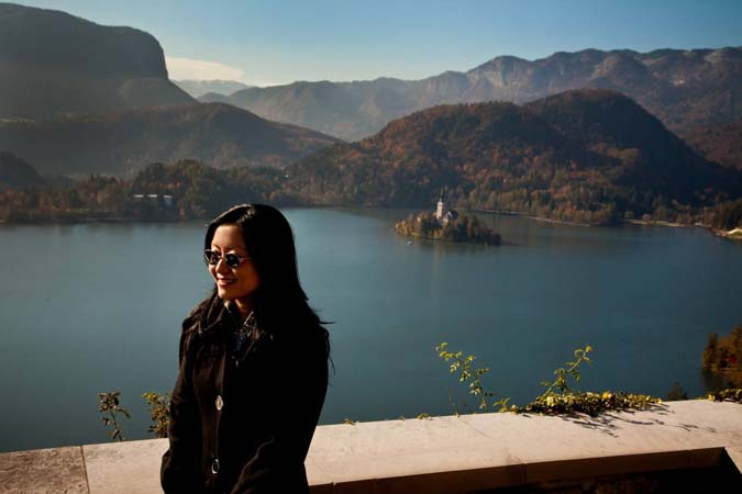<b>Wednesday, October 27, 2010, 11:10AM:</b> Following the sold-out concert in Ljubljana, Republic of Slovenia, violinist Hae-Young Ham takes advantage of a free day to visit the castle at scenic glacial Lake Bled. Located in the Julian Alps, the lake will be the site of the World Rowing Championship in 2011. <br><br> All photos by Chris Lee
