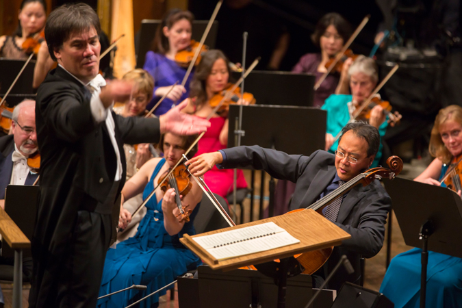 <b>8:30PM:</b> Yo-Yo Ma again joins Alan Gilbert and the Orchestra — dressed to the nines — for the World Premiere of Octavio Brunetti's arrangement, commissioned by the Philharmonic, of a suite from <em>La serie del Ángel</em> by Astor Piazzolla.