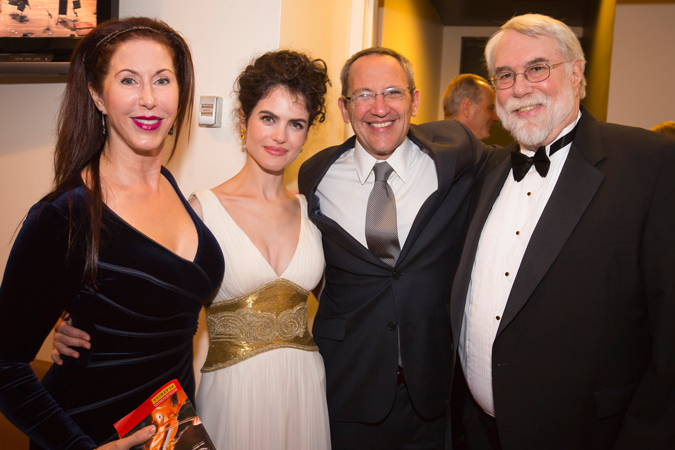 <b>9:27PM:</b> Another convergence of composers: Osvaldo Golijov and his wife, designer Neri Oxman (middle), greet the Philharmonic's Marie-Josée Kravis Composer-in-Residence, Christopher Rouse, and his fiancée, Natasha Miller. Photo by Chris Lee.