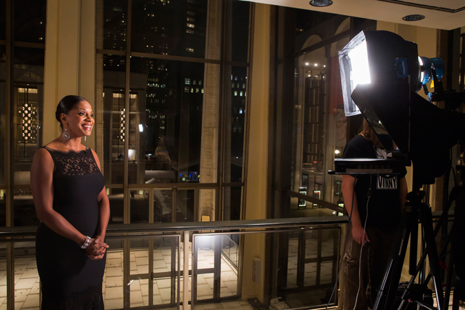 <b>8:27PM:</b> Behind the scenes, Tony Award–winning singer and actress Audra McDonald, the concert's <em>Live From Lincoln Center</em> host, tapes her segments for the future broadcast of this performance. The concert will air on New Year's Eve. Photo by Chris Lee