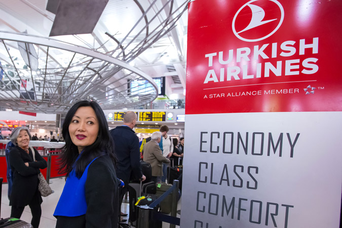 <b>New York, April 29, 2013, 9:50PM:</b> Violinist Hae-Young Ham is among the musicians awaiting check-in at the airport for the nearly ten-hour flight to Turkey.