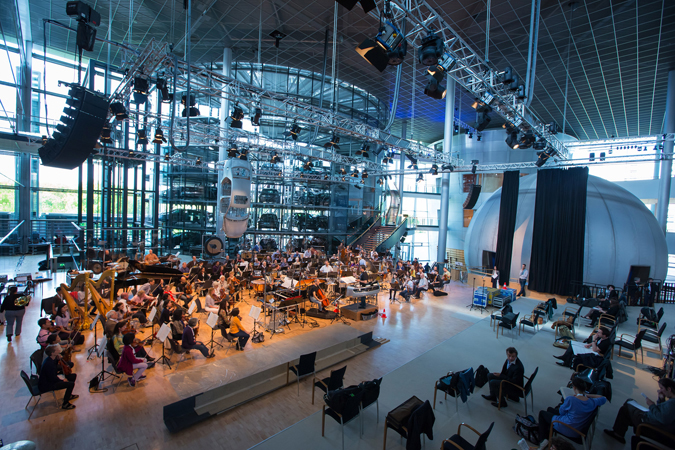 <b>Dresden, May 13, 2013, 10:15AM:</b> The penultimate stop on the EUROPE / SPRING 2013 tour is scenic Dresden, Germany, home of Volkswagen's Die Gläserne Manufaktur (Volkswagen Transparent Factory). Here, Music Director Alan Gilbert leads a rehearsal of former Marie-Josée Kravis Composer-in-Residence Magnus Lindberg's magnum opus, <i>Kraft.</i> <br>All photos by Chris Lee