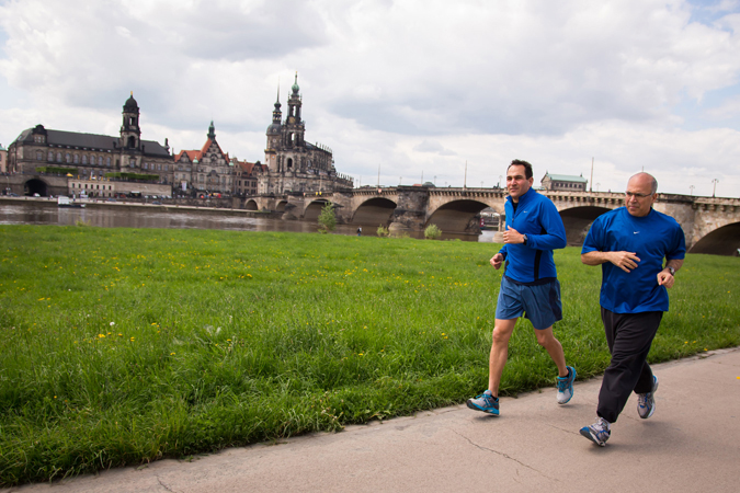 <b>Dresden, May 13, 2013, 12:05PM:</b> Taking advantage of the few hours off between rehearsal and concert, Acting Principal Clarinet Mark Nuccio and Principal Trombone Joseph Alessi go for a picturesque, post-rehearsal run by the banks of the Elbe River.