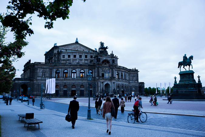 <b>Dresden, May 13, 2013, 7:45PM:</b> Concertgoers head toward a very different venue for tonight's Philharmonic concert. The magnificent Semperoper, built between 1838 and 1841, is home to the Saxon State Opera.