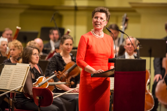 <b>Dresden, May 13, 2013, 8:00PM:</b> In a sign that a New York Philharmonic appearance is worthy of note, Helma Orosz, Mayor of Dresden, welcomes the audience as well as the visiting musicians.