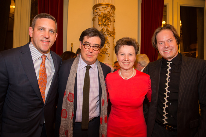 <b>Dresden, May 13, 2013, 10:45PM:</b> Mayor Orosz joins Philharmonic Executive Director Matthew VanBesien, Alan Gilbert, and Jan Vogler at the  post-concert reception she co-hosted with the Dresden Music Festival.