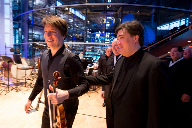<b>Dresden, May 14, 2013, 8:20PM:</b> Violinist Joshua Bell and Alan Gilbert stride onstage for Bernstein's Serenade (after Plato's <i>Symposium</i>).