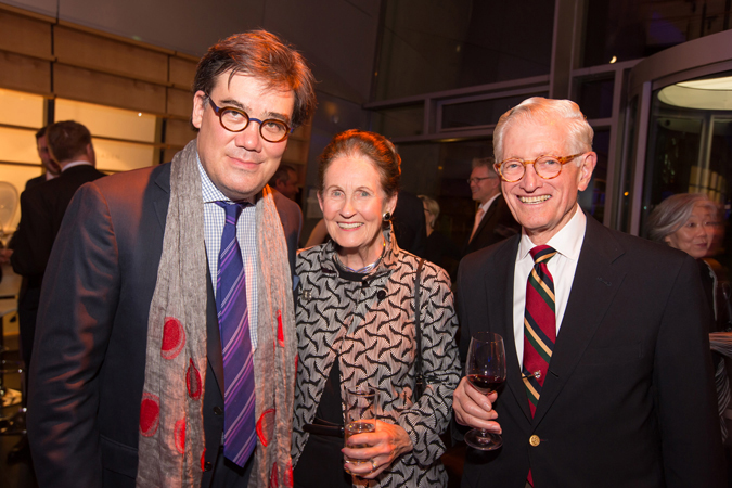 <b>Dresden, May 14, 2013, 10:35PM:</b> Alan Gilbert reunites with Philharmonic Board Member Gurnee F. Hart and his wife, Marjorie, at the post-concert reception co-hosted by the Volkswagen Transparent Factory and the Dresden Music Festival.
