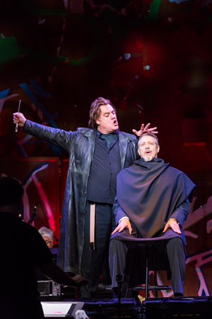 <b>11:11AM:</b> In this melding of the best operatic and theatrical talents, Welsh bass-baritone Bryn Terfel, as the eponymous demon barber, rehearses a pivotal scene with Philip Quast — three-time Olivier Award winner in his New York stage debut and Philharmonic debut — in the role of Judge Turpin.
