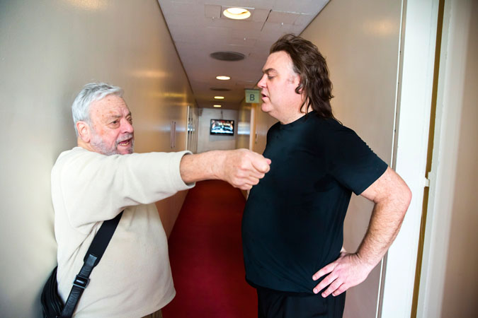 <b>11:30AM:</b> During the break in rehearsal, Stephen Sondheim himself, <em>Sweeney Todd</em>'s brilliant composer and lyricist, goes backstage to coach Bryn Terfel in the proper way to slay with a razor.
