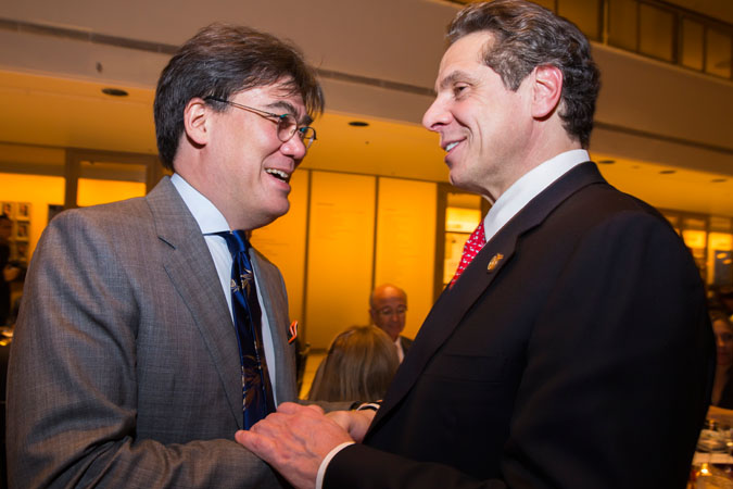 <b>10:35PM:</b> Bravo maestro! Music Director Alan Gilbert has arrived at the dinner, and is congratulated by an eminent guest, Governor Andrew Cuomo.