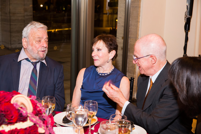 <b>10:40PM:</b> Seated with Stephen Sondheim (left) are Perry Granoff and Tom Tisch.