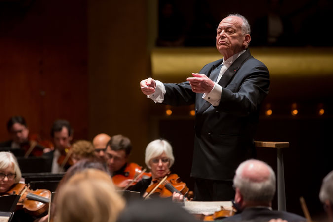 <b>January 24, 2013:</b> Lorin Maazel's final Philharmonic concerts featured Tchaikovsky's <i>Romeo and Juliet</i> Overture-Fantasy, Lutosłowski's <i>Chain 2: Dialogue for Violin and Orchestra,</i> featuring Jennifer Koh as soloist, and Shostakovich's monumental Fifth Symphony. Thanks to the many radio broadcasts and downloads produced during his tenure and even after, his acute and powerful interpretations of works such as these will live on, as will his performances in the memories of all who attended his concerts. <br>Photo: Chris Lee