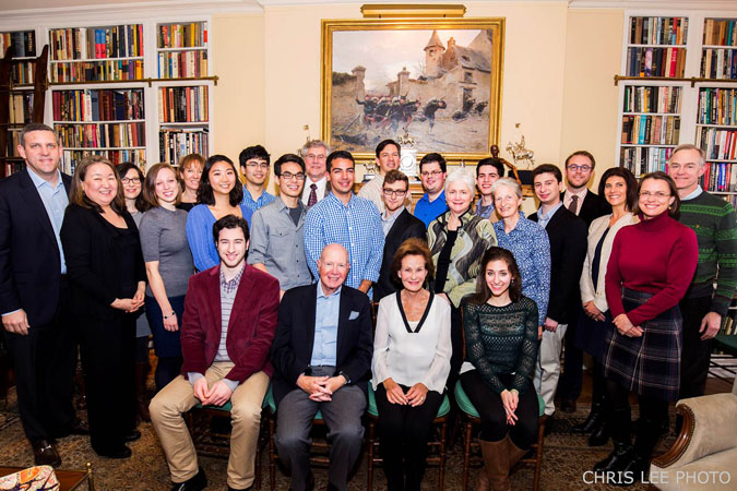 <b>January 4:</b> A welcome brunch with New York Philharmonic President Matthew VanBesien, far left, and Philharmonic musicians and officers. The brunch was generously hosted by Board member Susan Rose (seated, center, with her husband, Elihu Rose). (Except where indicated, all photos by Chris Lee)