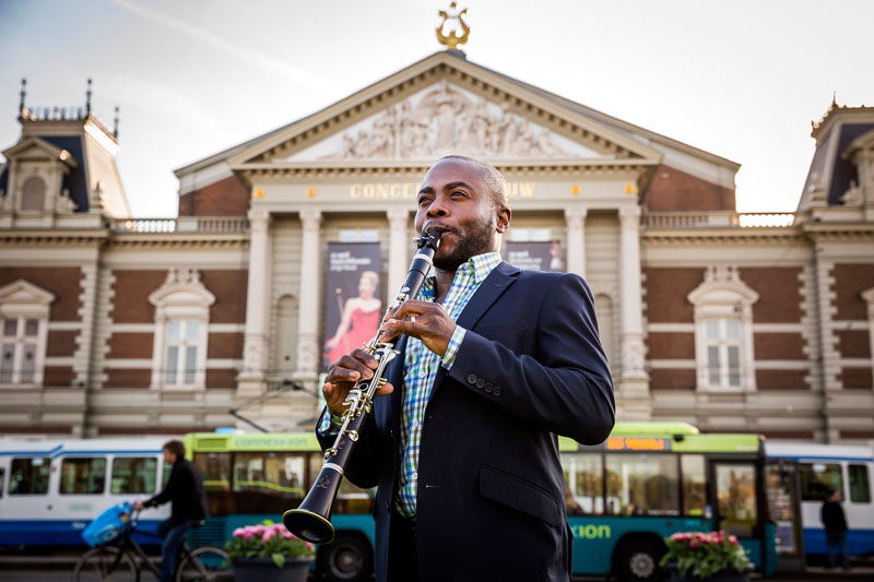 <b>Amsterdam, April 21, 2015, 6:47PM:</b> The New York Philharmonic has arrived in Amsterdam — the third of seven cities on the EUROPE / SPRING 2015 tour. The day of the first concert at Amsterdam's Concertgebouw, Principal Clarinet Anthony McGill warms up in front of the hall. All photos by Chris Lee.