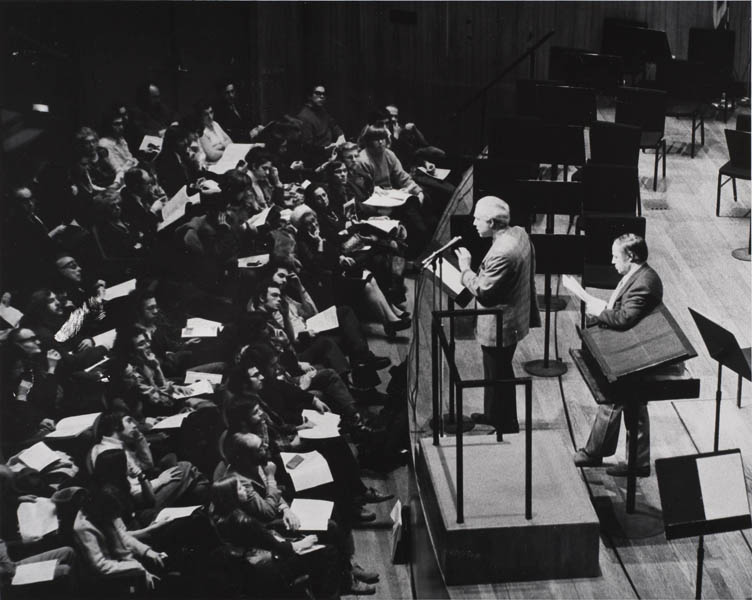 In a further effort to connect audiences and creators, Boulez introduced <em>An Informal Evening,</em> a series of discussions, rehearsals, and performances with 20th-century composers. On February 11, 1974, Elliott Carter joined Boulez to discuss Carter's Concerto for Orchestra, which the Philharmonic had commissioned and premiered in 1970.