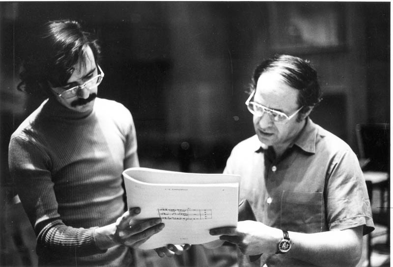 Boulez's passion for contemporary music and audience contact was shared by many of the musicians, including then Associate Principal Bass Jon Deak, seen here with the Music Director during a rehearsal of Jacob Druckman's <em>Valentine</em> for solo bass for a 1975 <em>Prospective Encounters</em> concert held at Cooper Union.