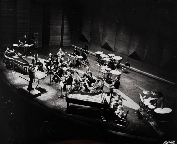 Boulez led Philharmonic musicians in <em>A Celebration of Contemporary Music,</em> March 13, 1976, featuring American icon Elliott Carter's Double Concerto with pianists Ursula Oppens and Paul Jacobs.