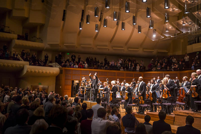 "<b>San Francisco, Friday, May 6, 2016, 9:56PM:</b> A standing ovation meets Alan Gilbert and the New York Philharmonic following an encore. As <em>San Jose Mercury News</em> reports: ""The orchestra had been playing uplifting music all evening, [Music Director Alan Gilbert] said; now it was time for something 'somber and sad.' He and the orchestra proceeded to play the 'Valse Triste' (sad waltz) by Sibelius, in a performance of rare beauty and reflective warmth."""