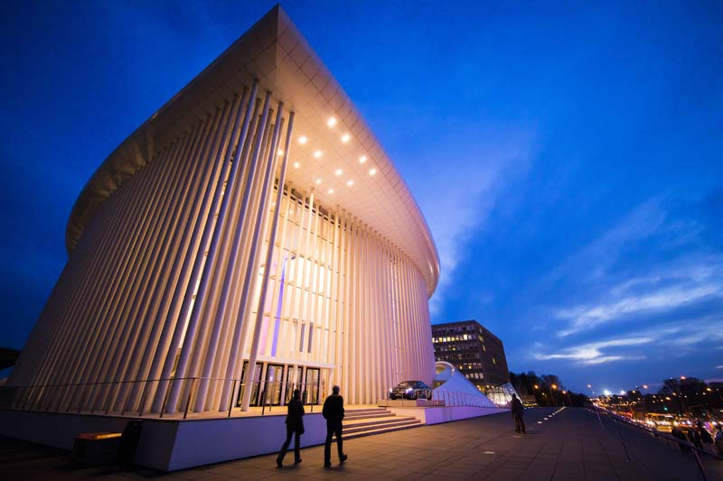 "<b>Luxembourg, March 24, 2017, 7:21PM:</b> The New York Philharmonic's EUROPE / SPRING 2017 tour continues at the Philharmonie Luxembourg. When architect Christian de Portzamparc's plan to surround the hall with trees proved impossible, he installed 827 vertical lines instead, ""enabling the public to either see or forget their surroundings,"" according to the architect. (All photos by Chris Lee unless otherwise specified.)"