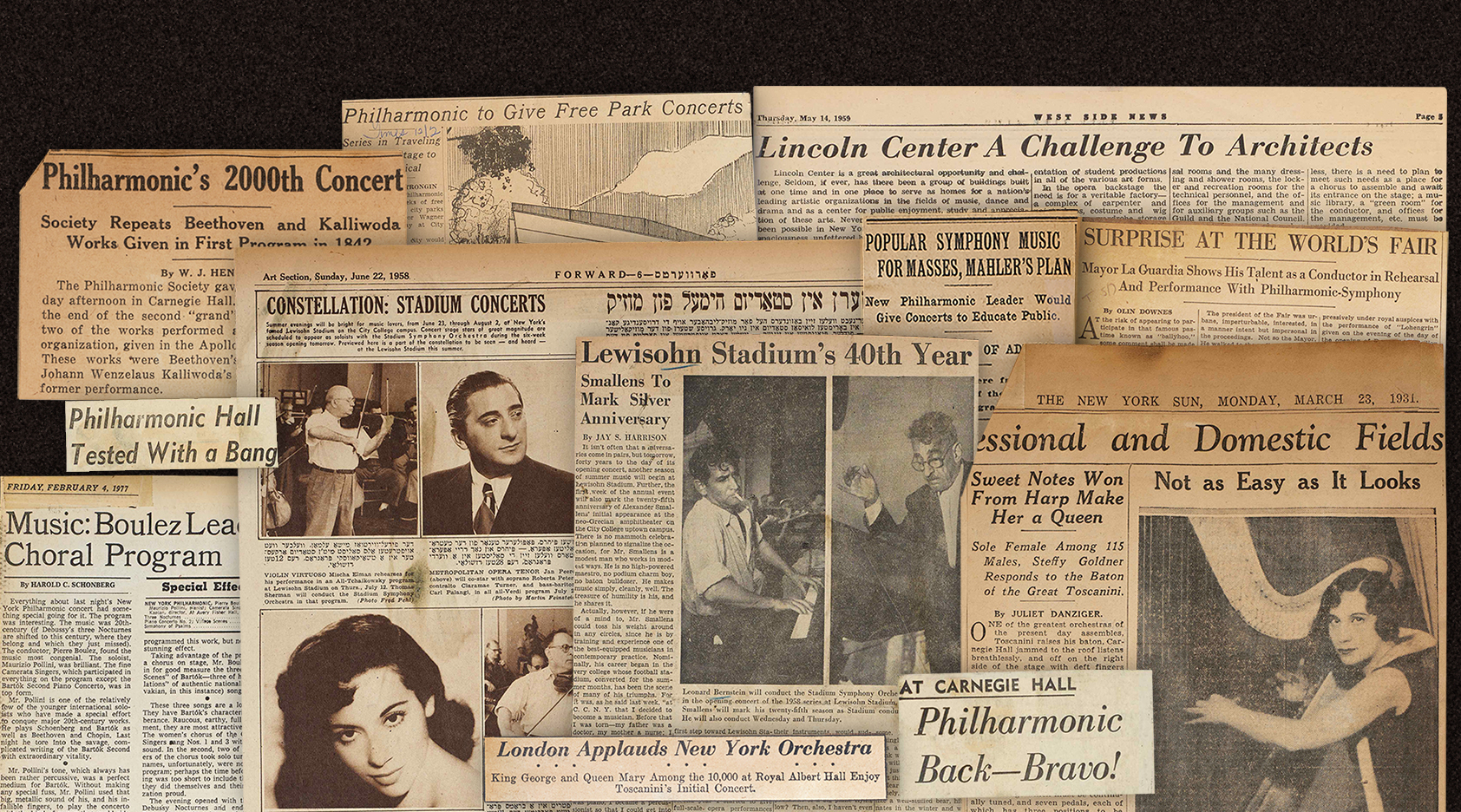 1dab09df7487 The New York Philharmonic Leon Levy Digital Archives has released more than  250 scrapbooks of press clippings from 1903 through 1979