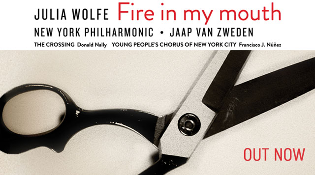 Julia Wolfe's Fire in my mouth recording cover art