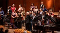 Music Director Jaap van Zweden, pianist Lang Lang, and the Orchestra accept applause after the Fall Gala.