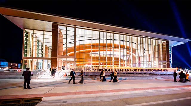 Exterior view of The McKnight Center for the Performing Arts at Oklahoma State University, Stillwater, Oklahoma