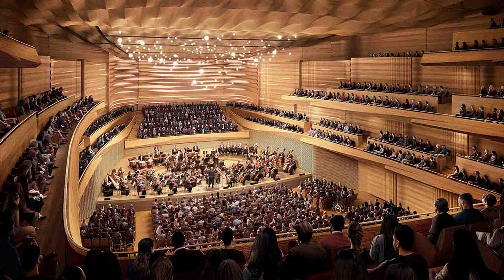 Rendering of the interior of the reimagined David Geffen Hall