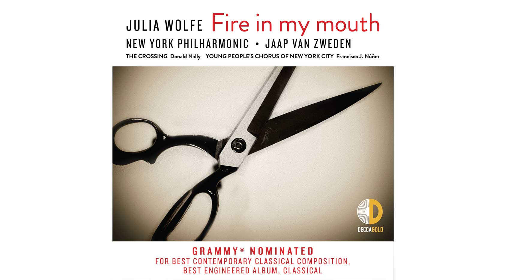 Graphic of the cover of the New York Philharmonic's recording of Julia Wolfe's 'Fire in my mouth'