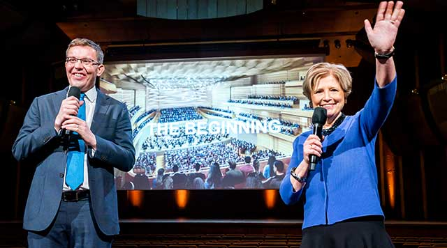 Henry Timms and Deborah Borda, President and CEO of Lincoln Center and the New York Philharmonic, respectively, announce plans for the reimagined David Geffen Hall.