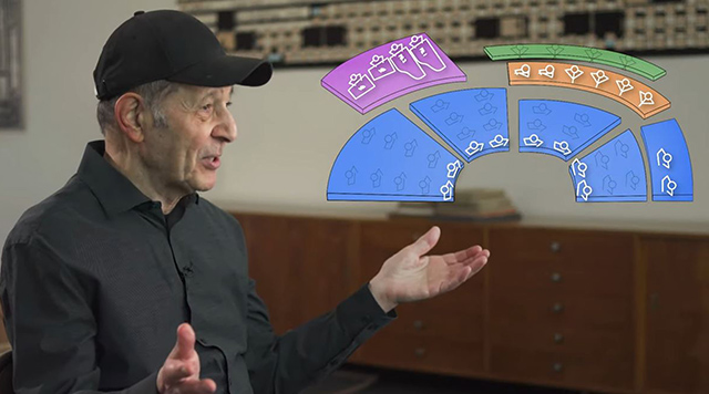 Frame from the video showing composer Steve Reich explaining his Music for Ensemble and Orchestra