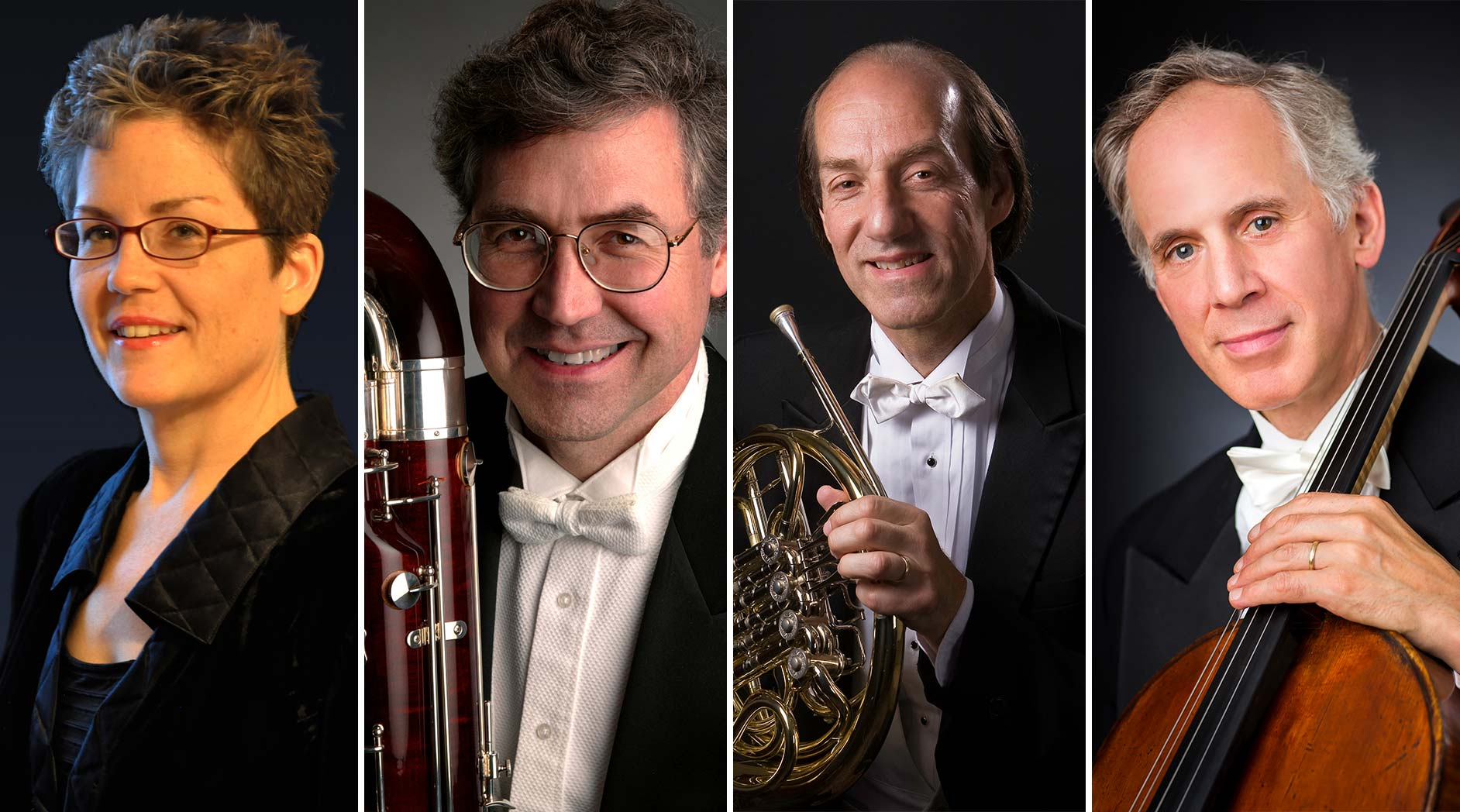 The four New York Philharmonic musicians retiring in 2020: Assistant Principal Librarian Sandra Pearson, bassoon / contrabassoon Arlen Fast, horn player Howard Wall, and cellist Eric Bartlett