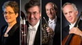 The four musicians retiring from the New York Philharmonic in 2020: Assistant Principal Librarian Sandra Pearson, bassoonist / contrabassoonist Arlen Fast, horn player Howard Wall, and cellist Eric Bartlett