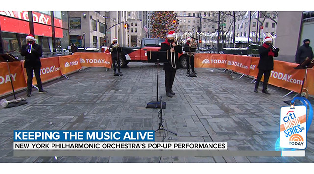 The New York Philharmonic Principal Brass Quintet brought live music back to the TODAY show.