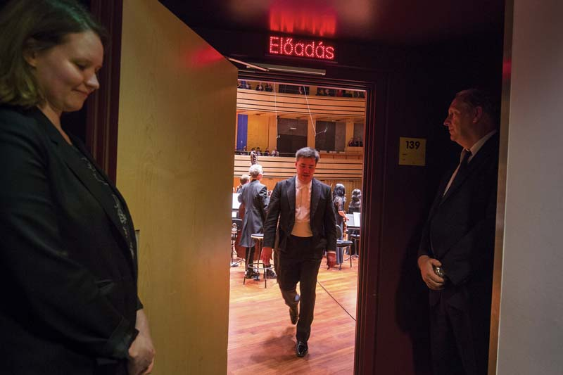 <b>Budapest, March 28, 2017, 8:08PM:</b> That night, Music Director Alan Gilbert bows and exits the stage after leading the New York Philharmonic in Bartók's Music for Strings, Percussion, and Celesta at the aptly named Bela Bartók National Concert Hall. The concert was recorded for later broadcast on MR3 Bartók Rádió. Photo by Chris Lee.