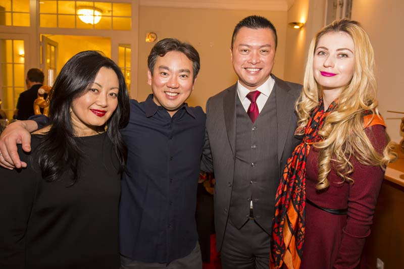 <b>Vienna, March 29, 2017, 10:04PM:</b> Dr. Jonathan Seah (second from right, with his wife, Yulia) is among the Philharmonic International Advisory Board Members who joined the Philharmonic Board in hosting a post-concert reception for the musicians, including violinist Hae-Young Ham (left) and Concertmaster Frank Huang. Photo by Chris Lee.