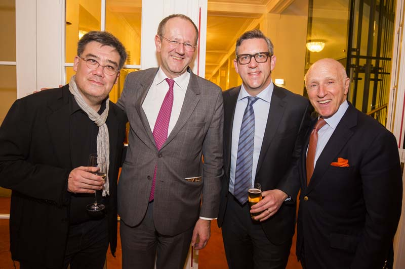 <b>Vienna, March 29, 2017, 10:13PM:</b> Also enjoying the post-concert reception are Alan Gilbert, Wiener Konzerthaus intendant Matthias Naske, Matthew VanBesien, and Philharmonic Chairman Oscar S. Schafer. Tomorrow is a much-needed day off for the Orchestra. Photo by Chris Lee.