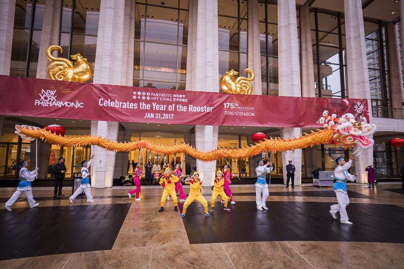 <b>4:48PM:</b> The New York Philharmonic welcomed the Year of the Rooster at its sixth annual Chinese New Year Concert and Gala, presented by Starr International Foundation. The festivities kicked off with the Nai-Ni Chen Dance Company performing the traditional Dragon Dance, and students from the National Dance Institute performing a rooster dance. Photo by Chris Lee.