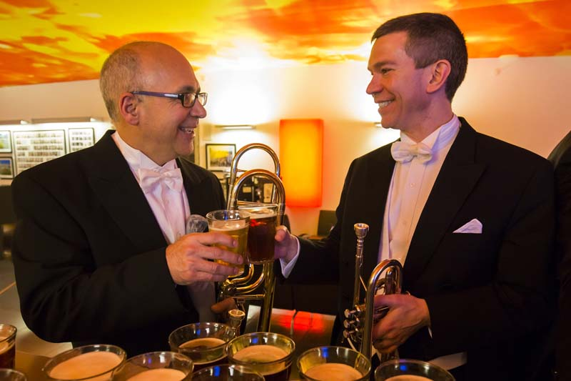<b>Copenhagen, April 7, 2017, 9:24PM:</b> A toast to a job extremely well done! The DR Koncerthuset thanks the musicians — including Principal Trombone Joseph Alessi and Principal Trumpet Christopher Martin — with a round of beer.