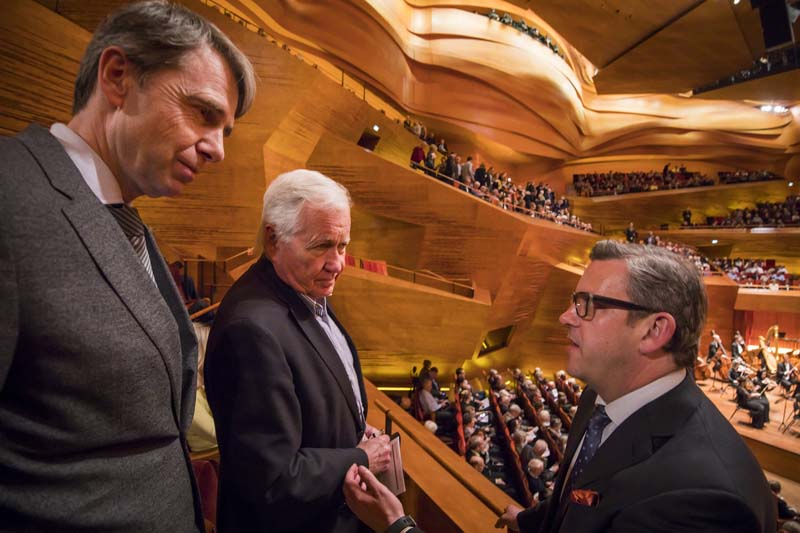 <b>Copenhagen, April 6, 2017, 7:24PM:</b> The concert is about to begin, and Philharmonic President Matthew VanBesien (right) confers with Jarl-Frijs Madsen, former consul general of Denmark in New York (left), who was a close collaborator on The Nielsen Project (the Philharmonic's performance and recording cycle of all of the great Danish composer's symphonies and concertos), and Michael Christiansen, chairman of the executive board of Danish Radio (DR) — naturally, because both concerts here will be streamed live on DR.